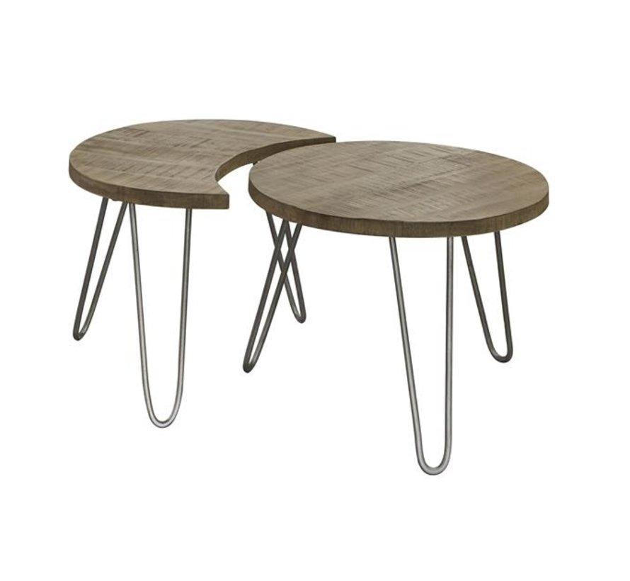 Industriële salontafel set Kevin blank mangohout rond Ø60