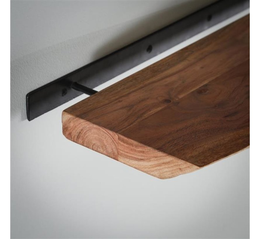 Industriële wandplank Dexter acaciahout 120 cm