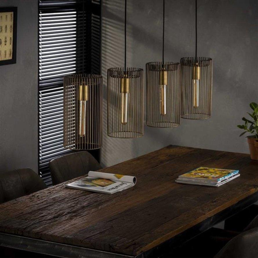 Industriële hanglamp Esmee 4-lichts brons antiek