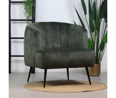 Bronx71 Velvet fauteuil Billy donkergroen