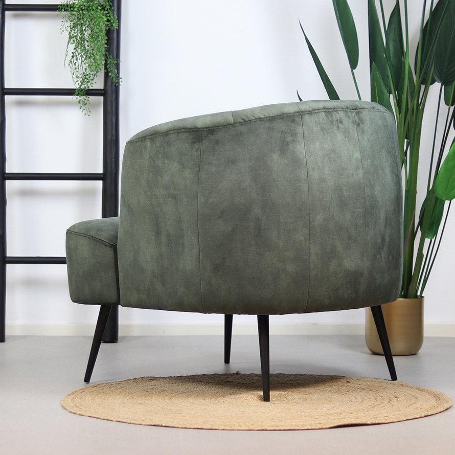 Velvet fauteuil Billy donkergroen