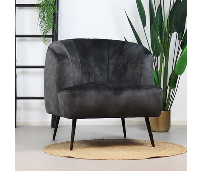 Bronx71 Velvet fauteuil Billy antraciet