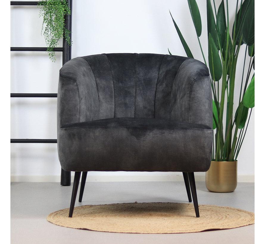 Velvet fauteuil Billy antraciet