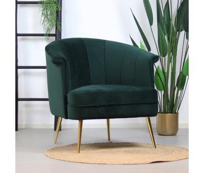 Bronx71 Velvet fauteuil Amy donkergroen