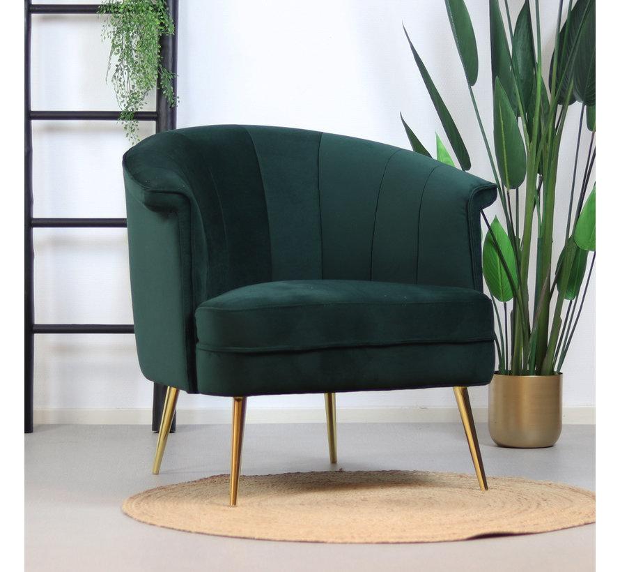 Velvet fauteuil Amy donkergroen