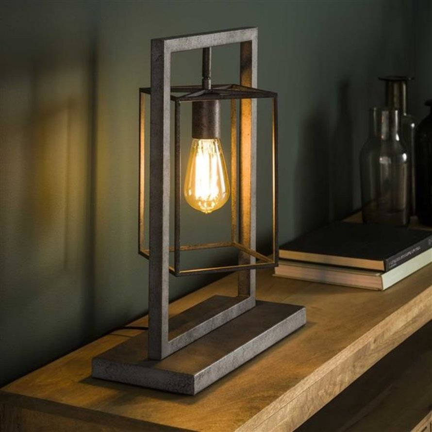 Industriële tafellamp Roxi 1-lichts oud zilver