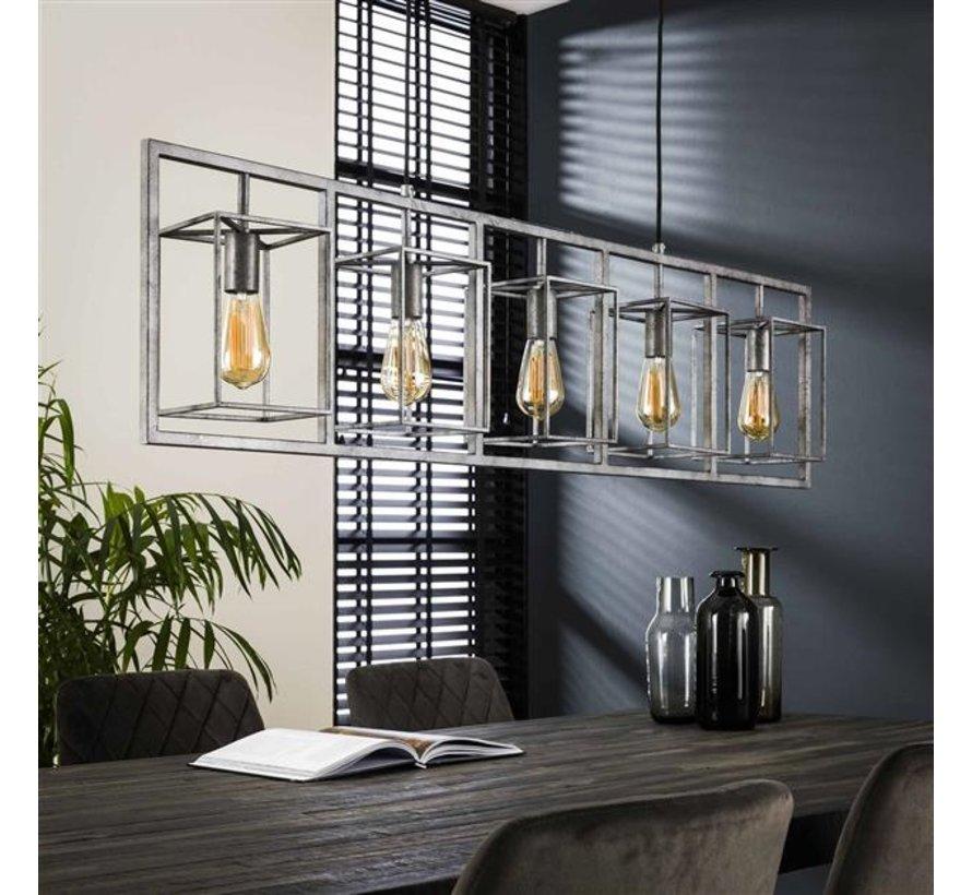 Industriële hanglamp Roxi 5-lichts oud zilver