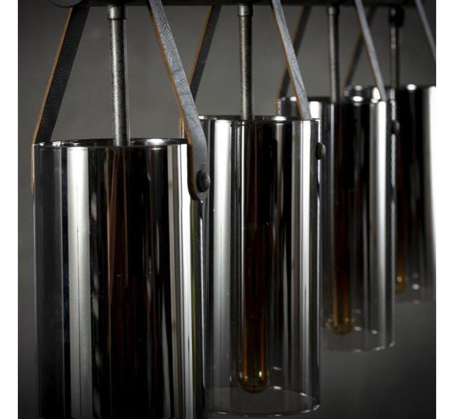 Industriële hanglamp Jelmer 4-lichts oud zilver