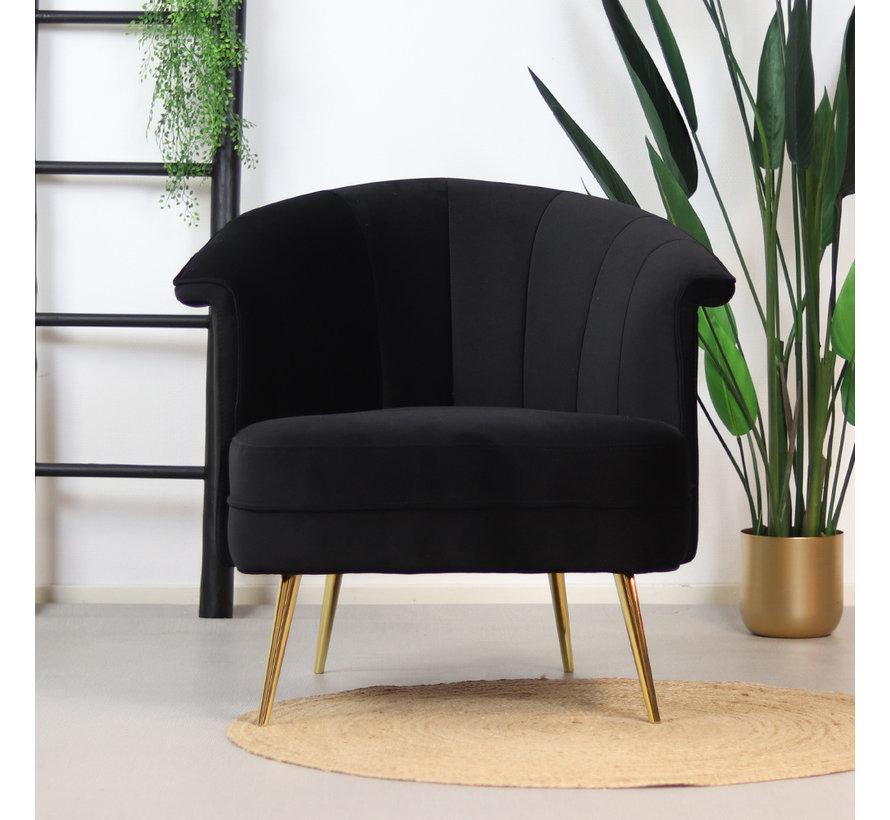 Velvet fauteuil Amy zwart