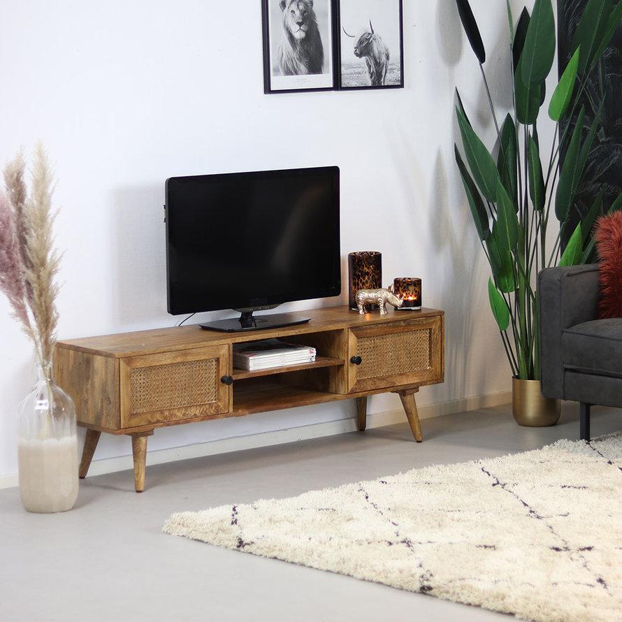 Tv-meubel Roto mangohout rotan 145 cm