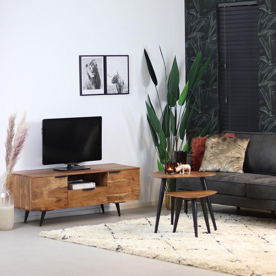 Industriële salontafel set Robinia acaciahout (2 stuks)
