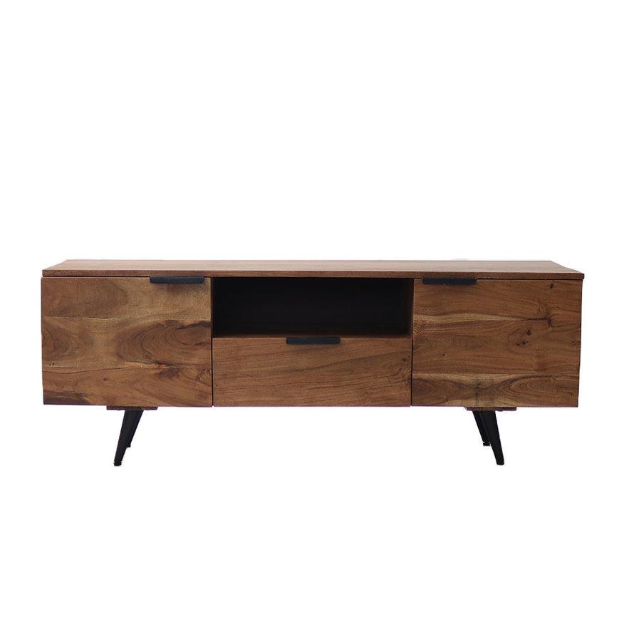 Industrieel tv meubel Robinia acaciahout 135 cm