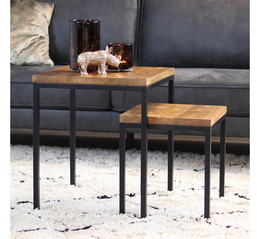 Industriële salontafel set Willis mangohout (set van 2)