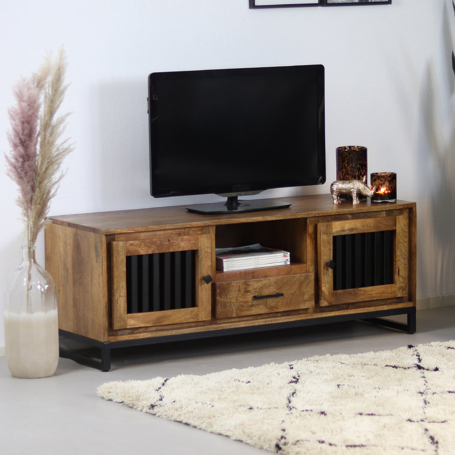 Industrieel tv-meubel Willis mangohout 135 cm