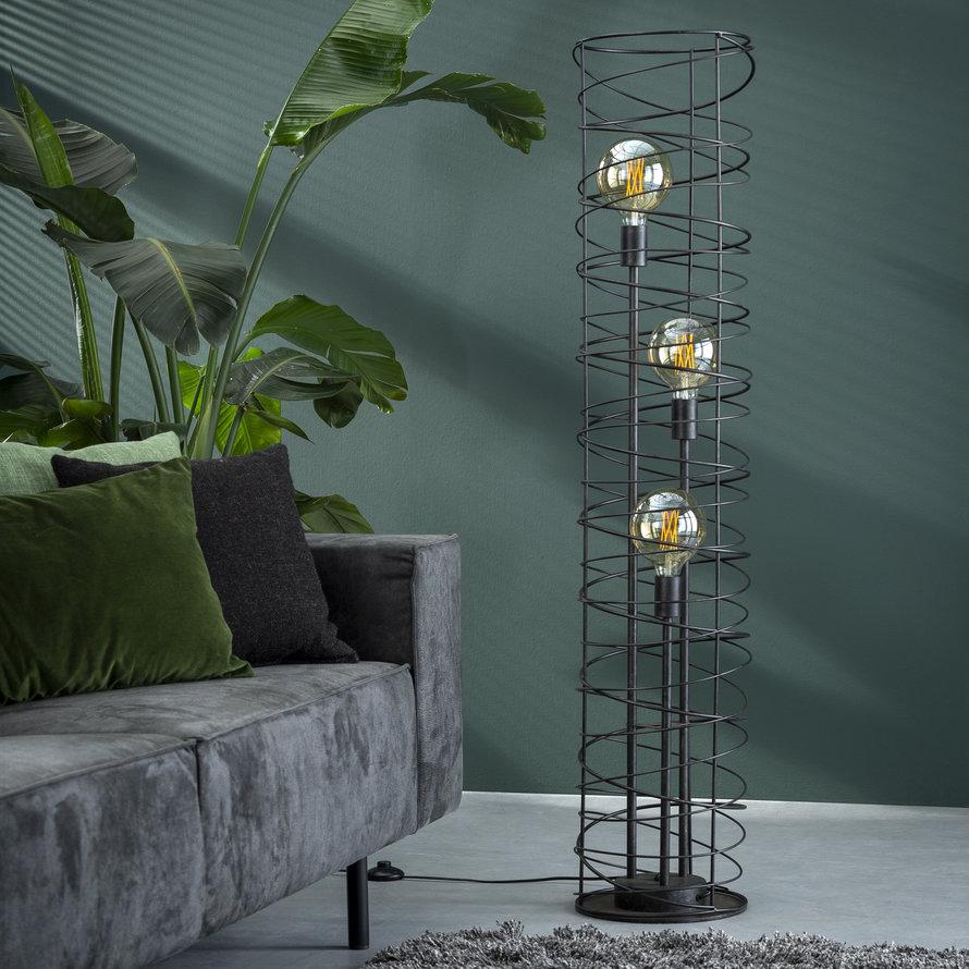 Industriële vloerlamp Curl 3-lichts charcoal