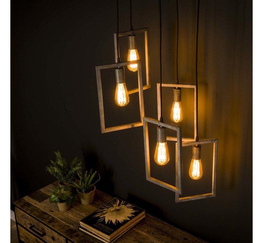 Industriële hanglamp Clara 5-lichts getrapt