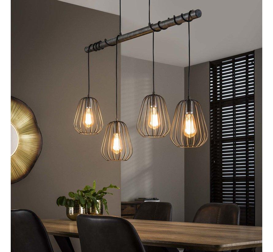 Industriële hanglamp Holly 4-lichts oud zilver