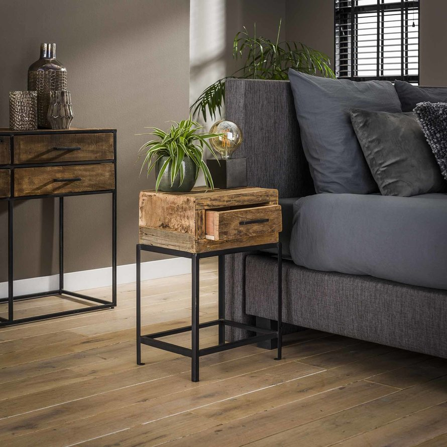 Industrieel nachtkastje Rense hout metaal 1 lade