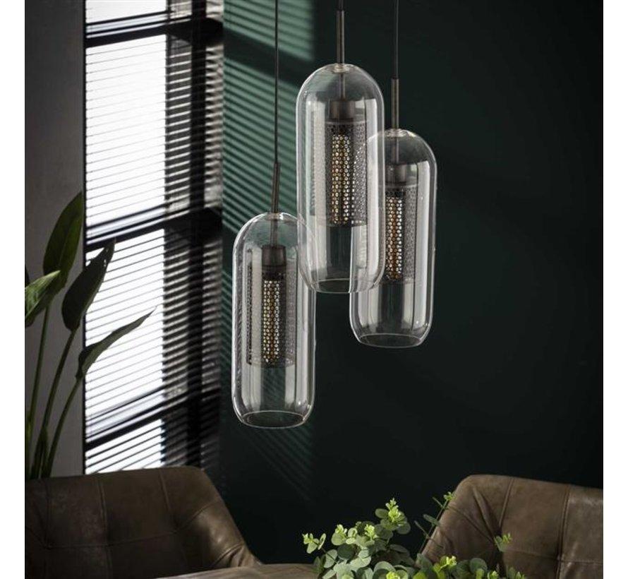Industriële hanglamp Dagmar glas 3-lichts