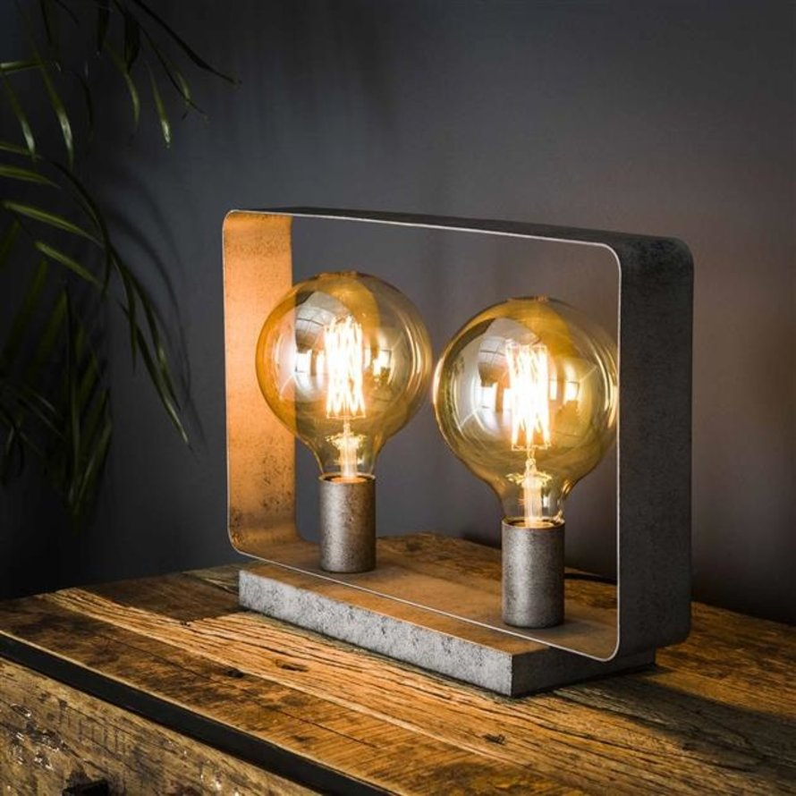 Industriële tafellamp Remco oud zilver 2-lichts