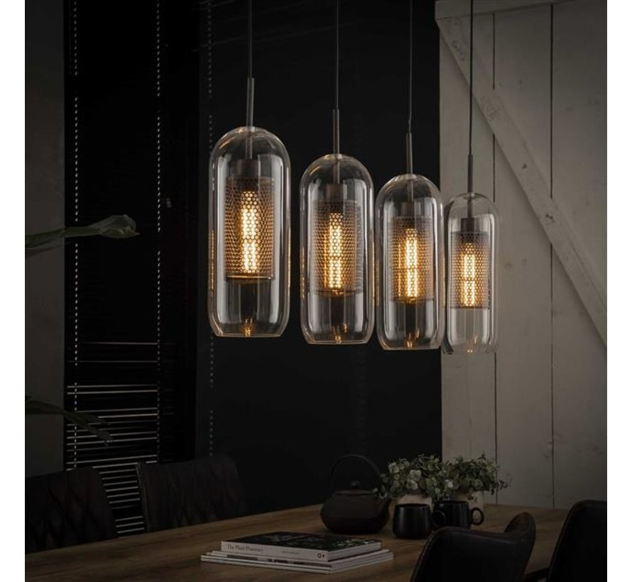 Industriële hanglamp Dagmar glas 4-lichts
