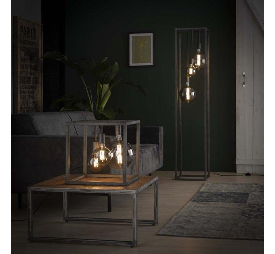 Industriële vloerlamp Nathalie oud zilver 3-lichts