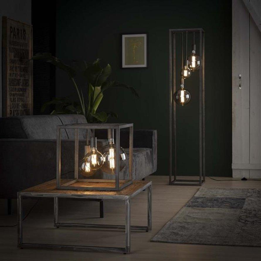 Industriële tafellamp Nathalie oud zilver 3-lichts