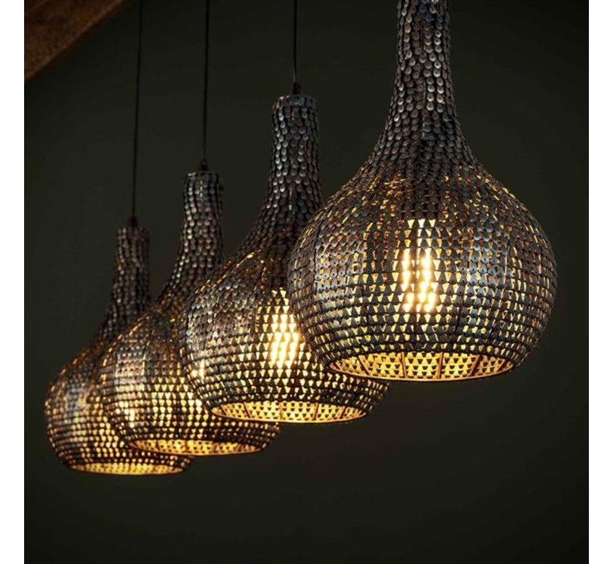 Industriële hanglamp Demi zwart bruin 4-lichts