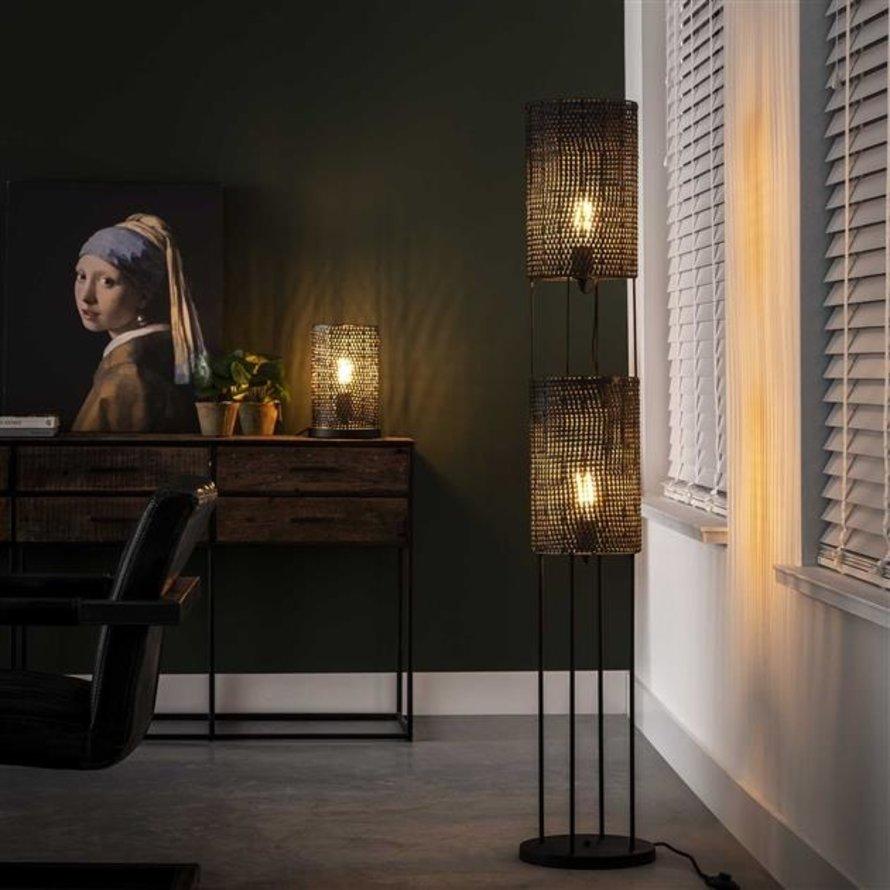 Industriële vloerlamp Lyda zwart bruin 2-lichts