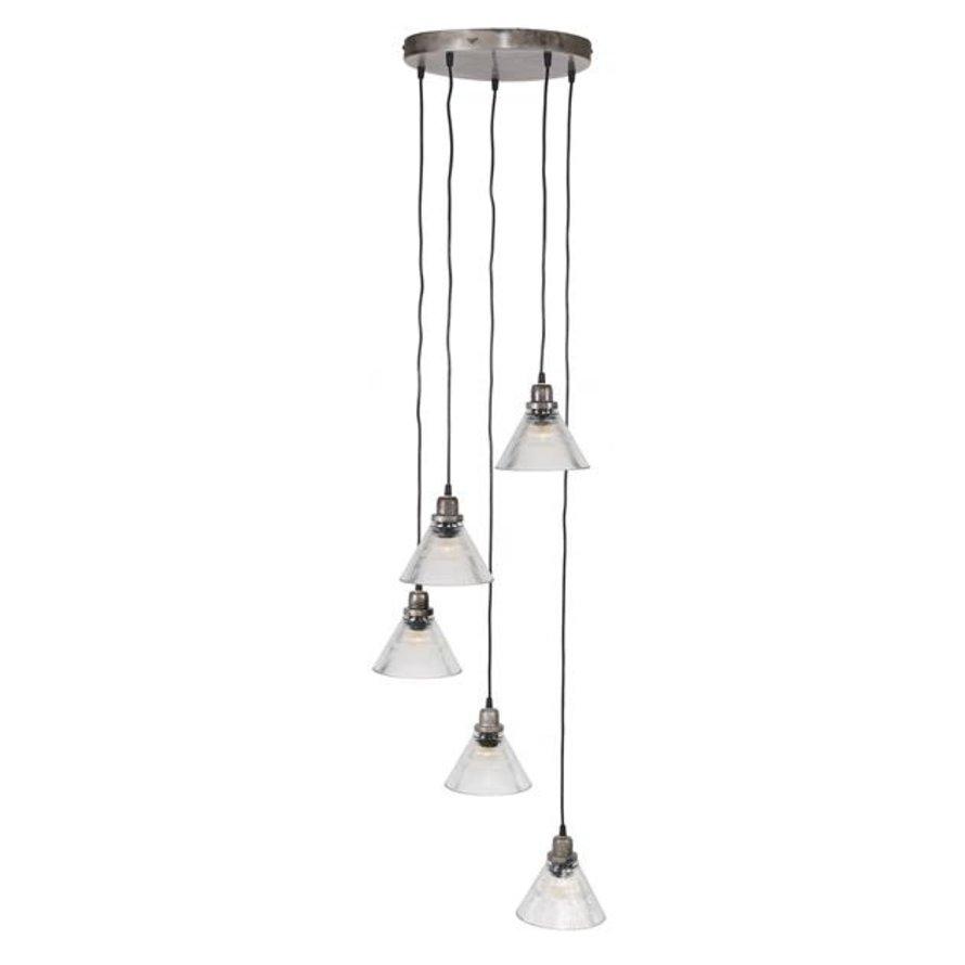 Industriële hanglamp Elise glas 5-lichts