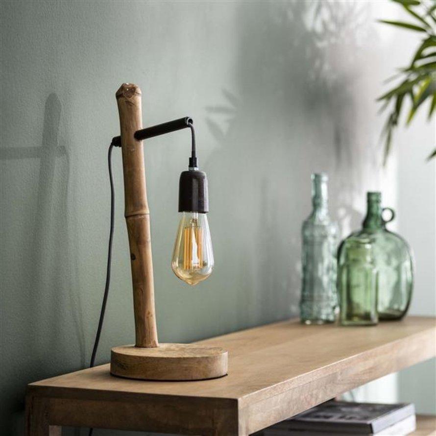 Industriële tafellamp Lianne bamboe 1-lichts