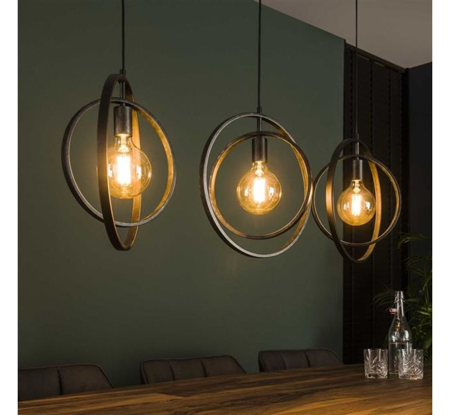 Industriële hanglamp Rotate charcoal 3-lichts