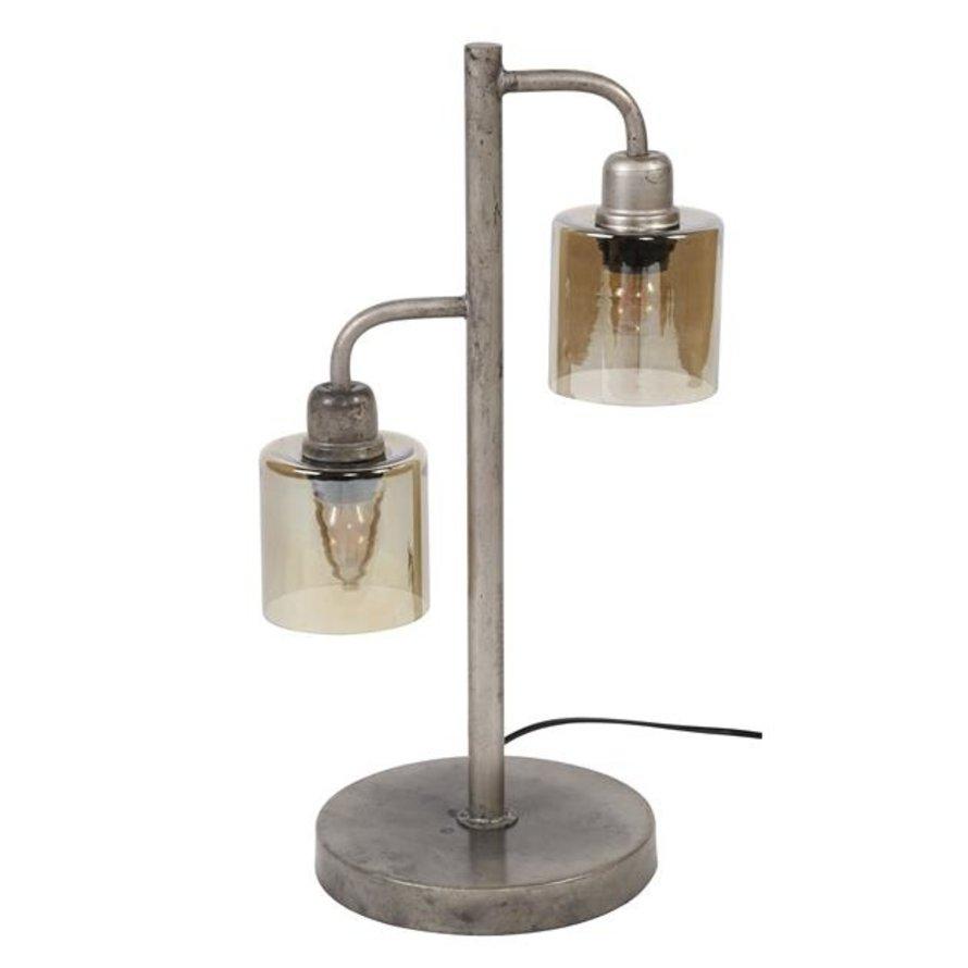 Industriële tafellamp Lexie oud zilver 2-lichts