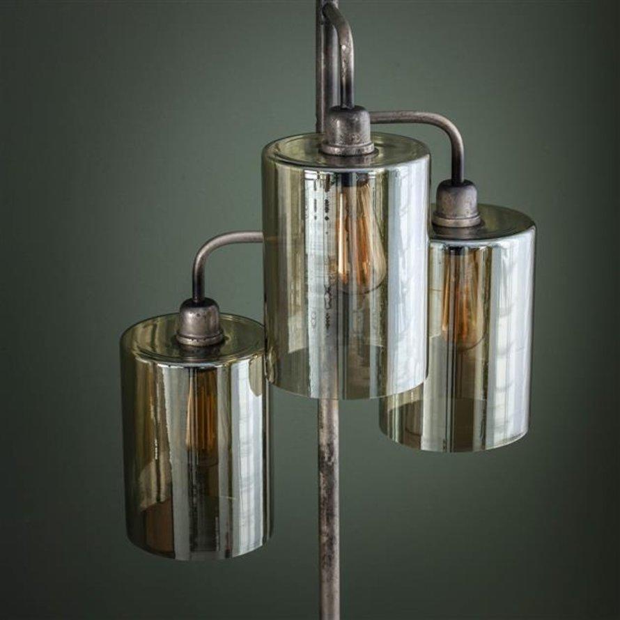 Industriële vloerlamp Lexie oud zilver 3-lichts