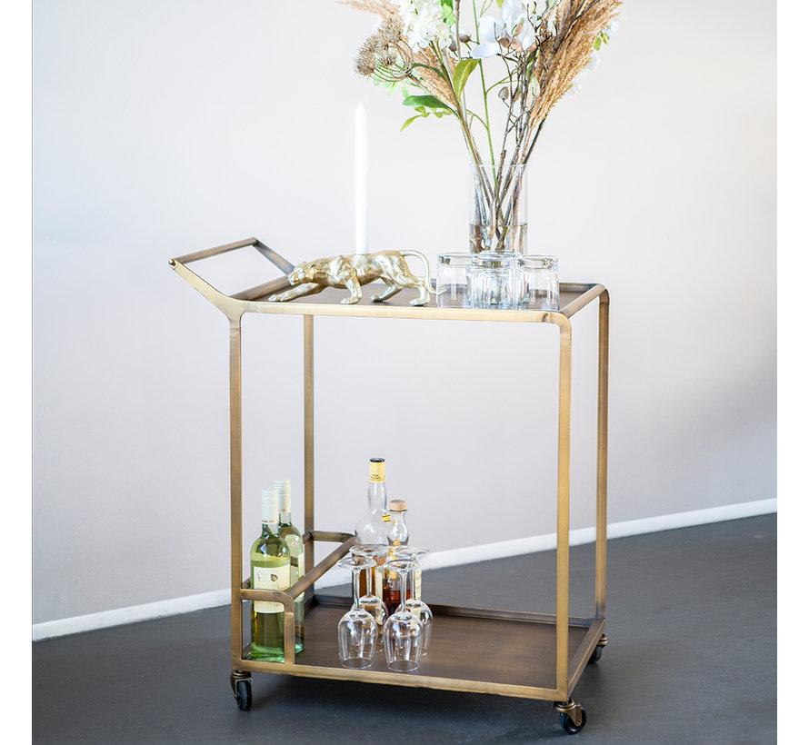 Moderne wijntrolley Meri goud metaal