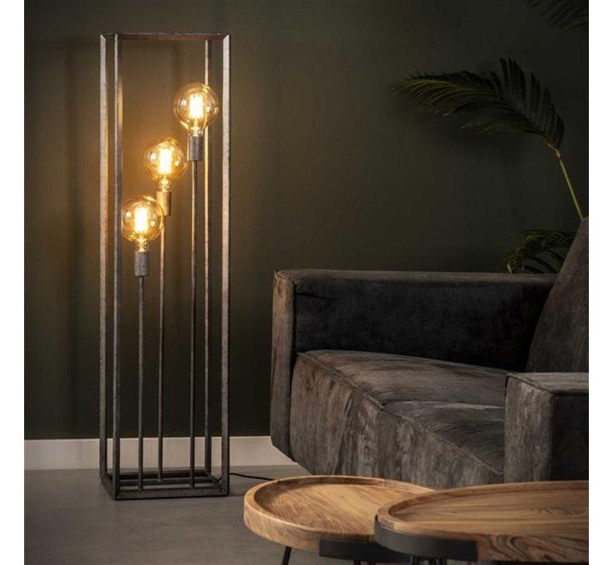 Industriële vloerlamp Iris oud zilver 3-lichts