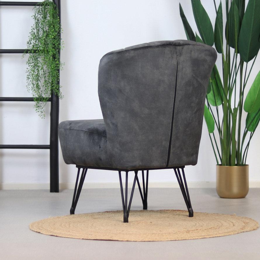 Velvet fauteuil Else antraciet