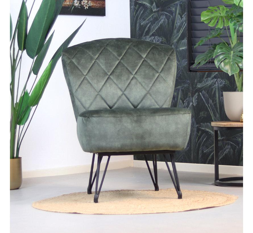 Velvet fauteuil Else donkergroen