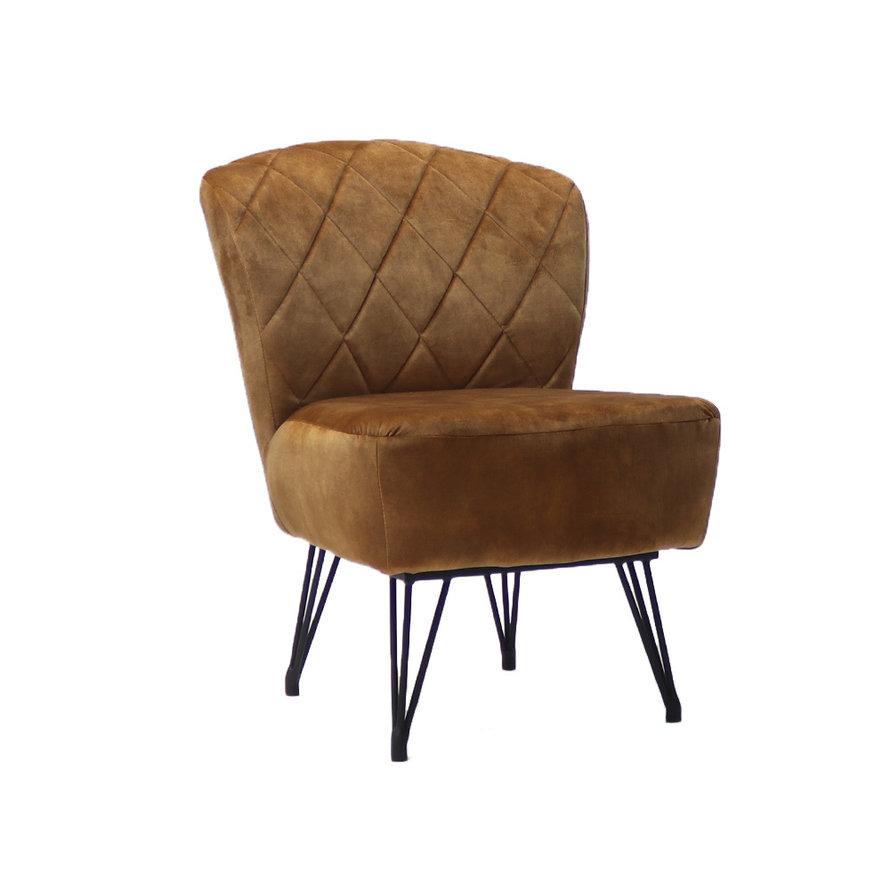 Velvet fauteuil Else okergeel