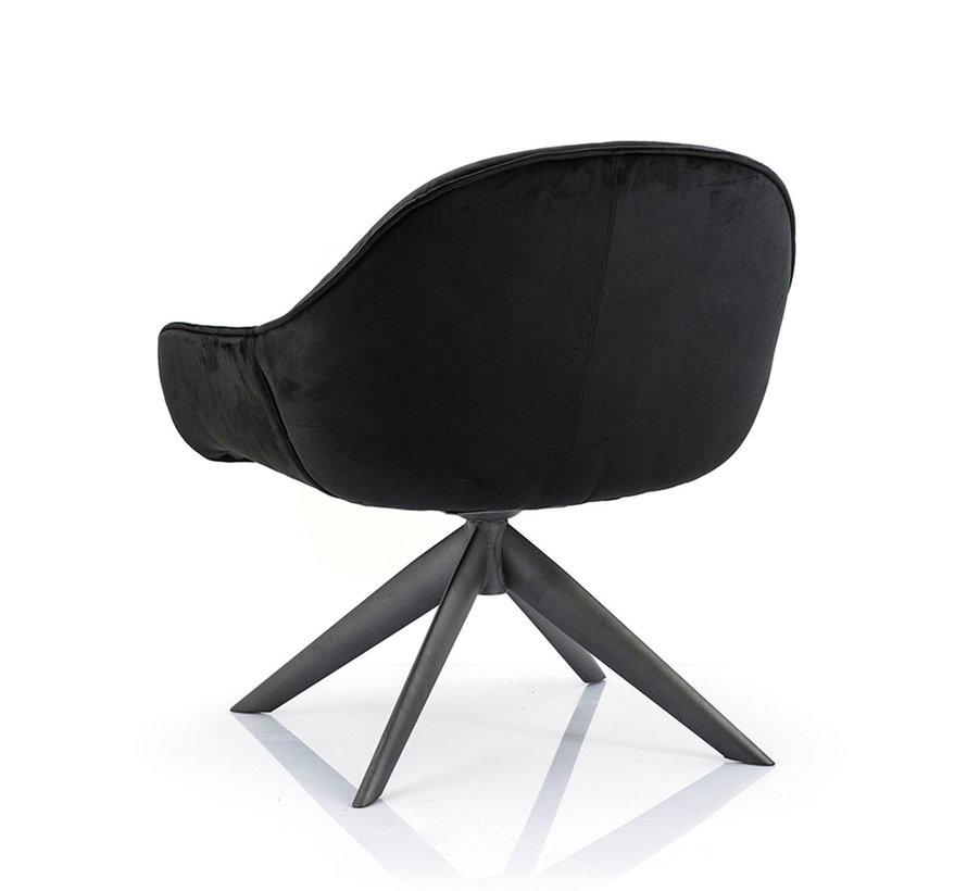 Velvet fauteuil Mila zwart