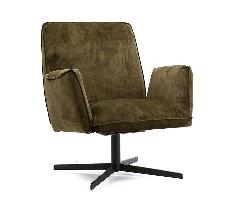 Velvet fauteuil Ava olijfgroen