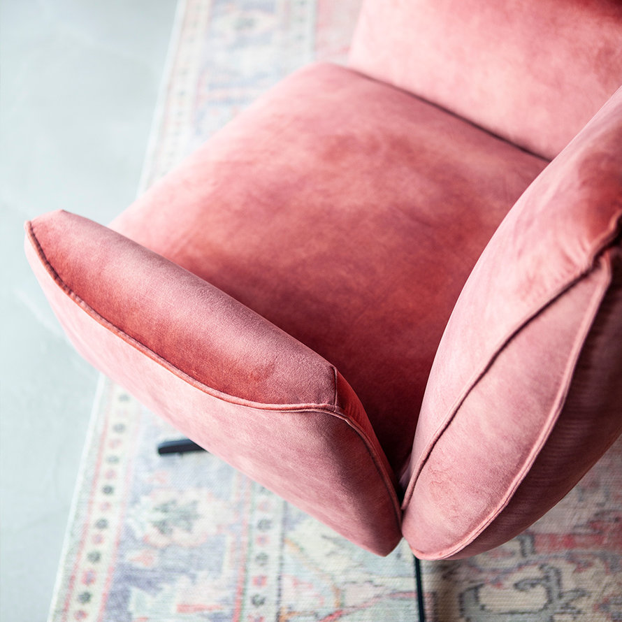 Velvet fauteuil Ava roze