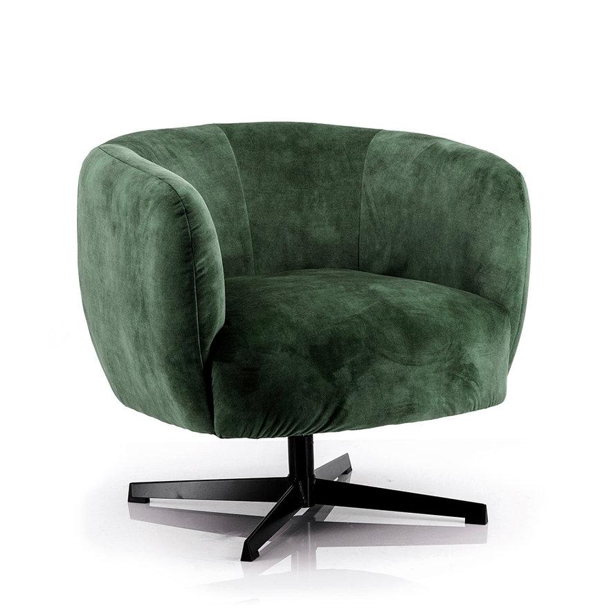 Velvet fauteuil Tori donkergroen