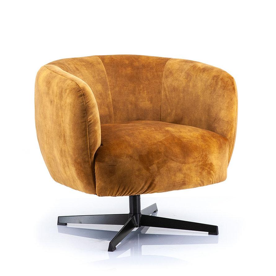 Velvet fauteuil Tori okergeel