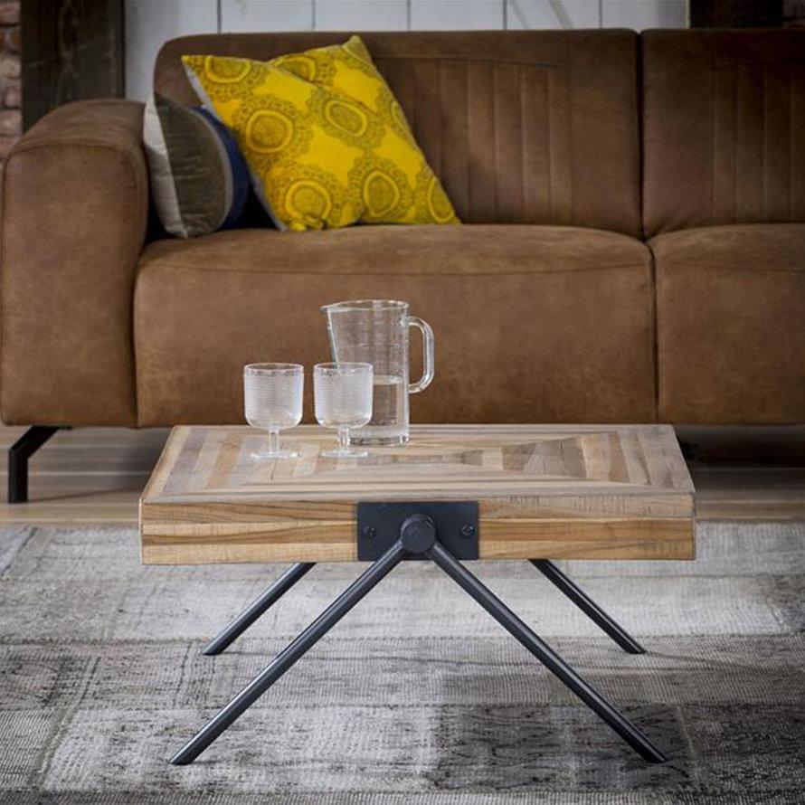 Industriële salontafel Jack Square teakhout 70 cm vierkant