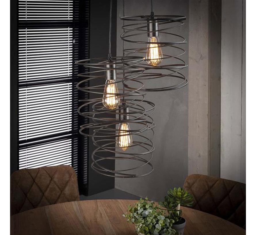 Industriële hanglamp Curl charcoal 3-lichts