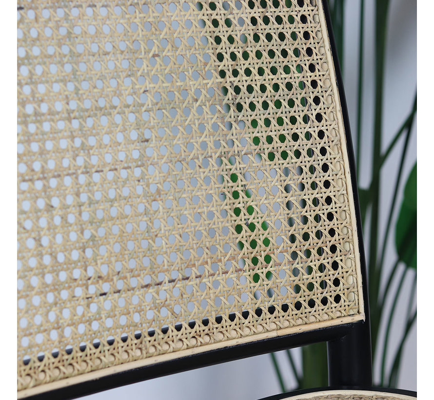 Eetkamerstoel Rotan bamboe zwart beige