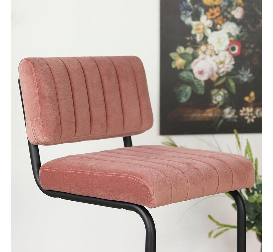 Velvet barkruk Eva roze 77 cm
