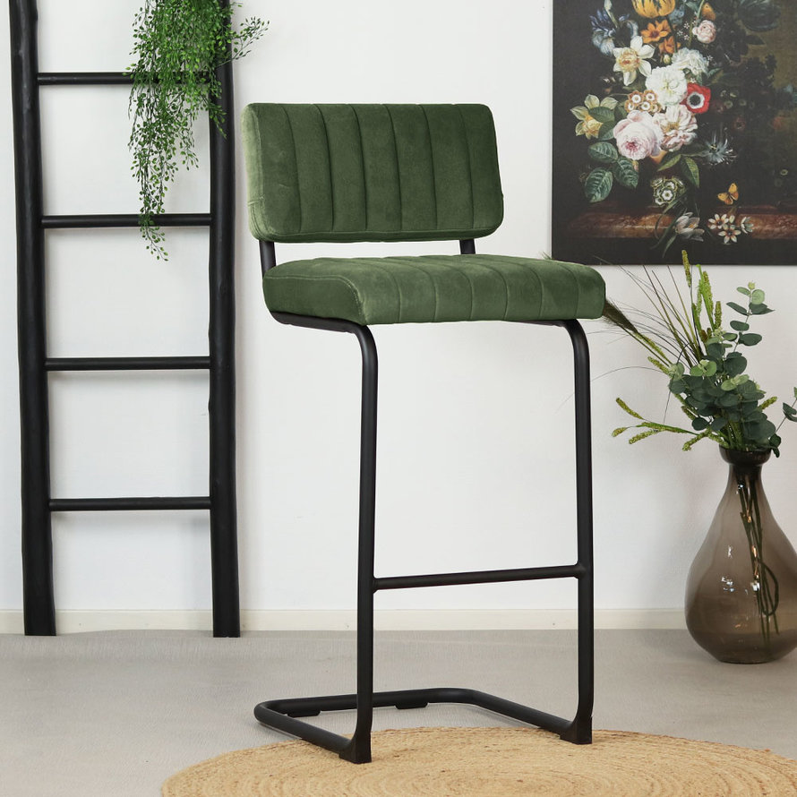 Velvet barkruk Eva groen 77 cm