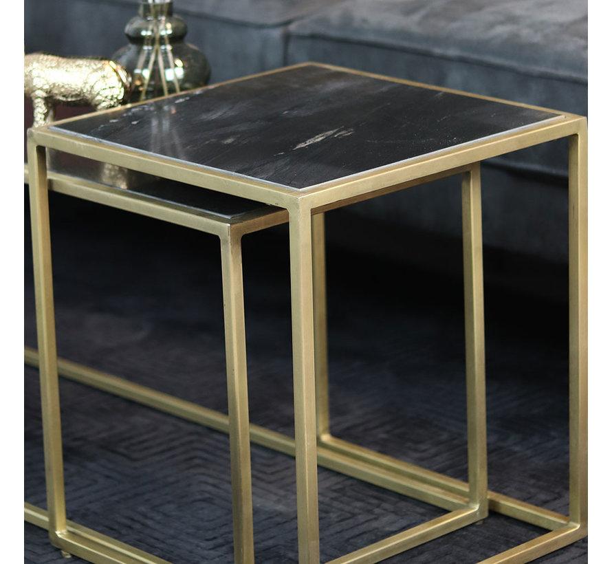 Moderne salontafel Julius marmer zwart (set van 3)